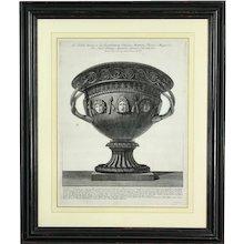 Original Piranesi engraving of a Large Basalt Vase with Carved Masks. Plate 60. (c. 1778 France)