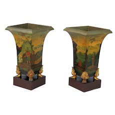 Pair 19th Century tole Vases