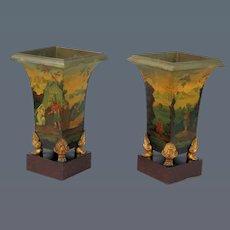 Pair 19th Century tole Vases