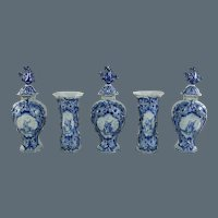18th Century Dutch Delft 5 piece Garniture