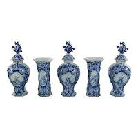 18th Century Dutch Delft 5 piece Garniture