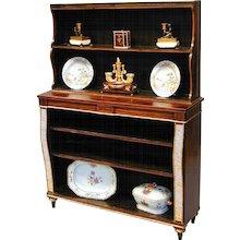 Regency calamander, painted and gilded open bookshelves. Circa 1810.