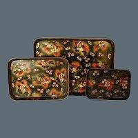 Set of Three Regency Papier Mache Trays (c. 1810 England)