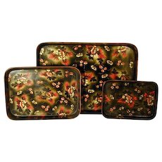 Set of Three Regency Papier Mache Trays (c. 1810 England)