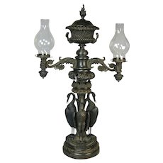 Regency bronze two branch colza lamp of very impressive size. Circa 1820.