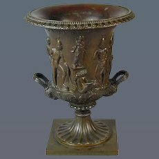 Grand Tour Bronze Crater Vase by A. Dressler. (1872 Italy)