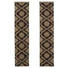 Pair of Silk Velvet and Metallic Wall Panels  /  Textiles