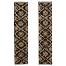 Pair of Silk Velvet and Metallic Wall Panels  /  Textiles