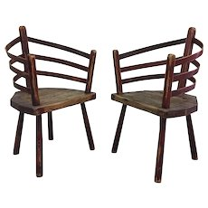 Pair of Primitive Irish Chairs