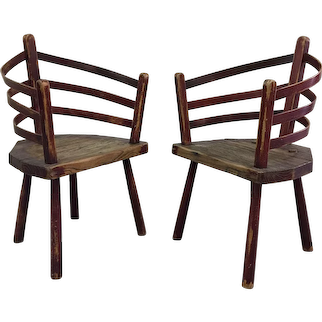 Pair of Primitive Irish Chairs
