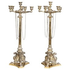 Pair of ELKINGTON & CO Plated and Parcel Gilt Candelabra