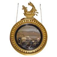 Regency Period Carved Giltwood Convex Mirror