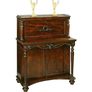 English Georgian Period Mahogany Writing Cabinet