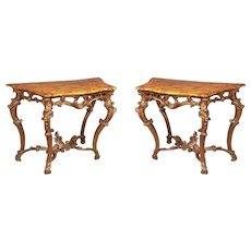 Pair of Italian Rococo Giltwood Console Tables