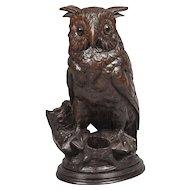 Carved Black Forest Horned Owl