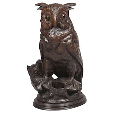 Carved Black Forest Horned Owl