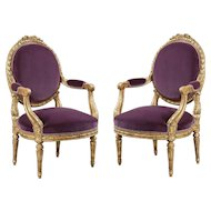 Pair of 19th Century French Giltwood and Purple Velvet Armchairs