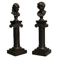 Pair of Miniature Decorative Bronzes of Roman Busts on Columns