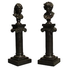 Pair of Miniature Decorative Bronzes of Roman Busts on Columns
