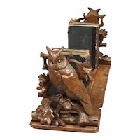 Swiss 19th Century Whimsical Black Forest Owl Book Rack