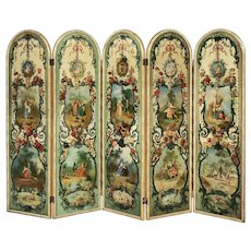 Painted Five Fold Screen in the Early Romantic Manner