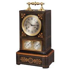 French 19th Century Inlaid Wood Mantel Clock