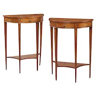 Pair of Satinwood Console Tables Attributed to Edwards and Roberts