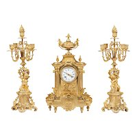 French Ormolu Mantel Clock and Matching Candelabra