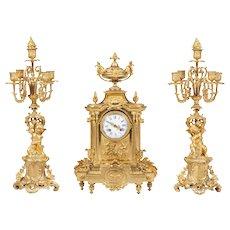 French Ormolu Mantel Clock and Matching Candelabra