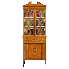 English Satinwood Bookcase Cabinet in the Neoclassical Style