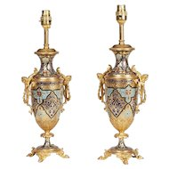 Pair of Gilt and Enamel Arabesque Table Lamps