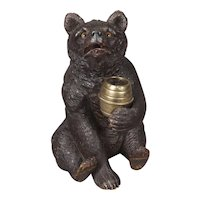 Black Forest Carved Bear Tobacco jar
