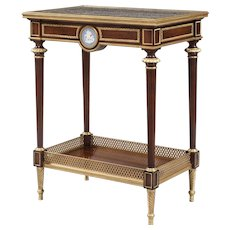 French Occasional Table of Mahogany and Gilt Bronze Mounts by Henry Dasson et Cie