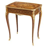 English Marquetry Occasional Table in the French Taste