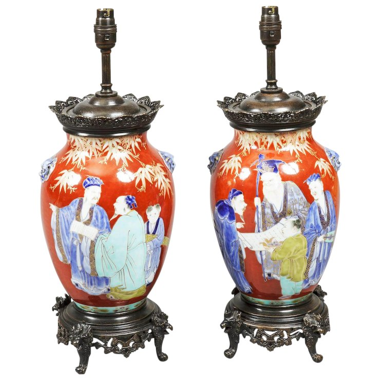 Pair of chinese porcelain table lamps butchoff antiques rubylux pair of chinese porcelain table lamps aloadofball Images