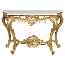 French Giltwood and Carrara Marble Console Table