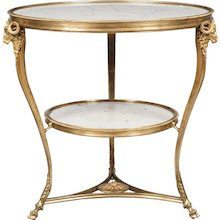 French White Marble and Gilt Brass Table