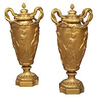 Pair of French Gilt Bronze Urns in the Grecian Manner