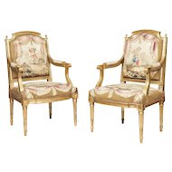 Pair of French 18th Century Giltwood and Tapestry Armchairs
