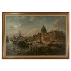 A 19th Century Painting of Custom House Dock, Dublin