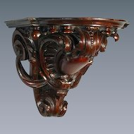 George III Carved Mahogany Wall Bracket in the Manner of Chippendale (c. 1770 England)