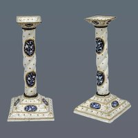 Pair of English Enamel Square Based Candlesticks (c. 1780 England)