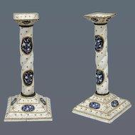 Pair of English Enamel Square Based Candlesticks (c. 1780 England)