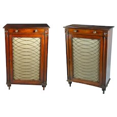 Pair of George III Mahogany Single Door Cabinets (c. 1810 England)