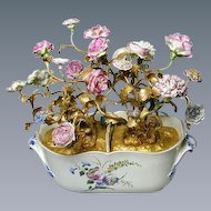 Chantilly Seau a Liqueurs with Gilt Metal Branches, 18th Century & Later Flower Heads (c. 1770 England)