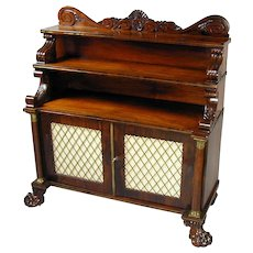 Regency carved goncalo alves and brass inlaid low cabinet, with 2 tier superstructure. Circa 1815.