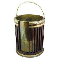 George III Mahogany and Brass Bound Slatted Bucket (c. 1800 England)