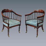 Pair George IV Mahogany Cane Seated Horseshoe Armchairs (c. 1825 England)