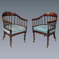Pair George IV Mahogany Cane Seated Horseshoe Armchairs (c. 1825 England)