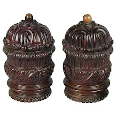 Pair George IV Carved Mahogany Boxes and Covers (c. 1820 England)